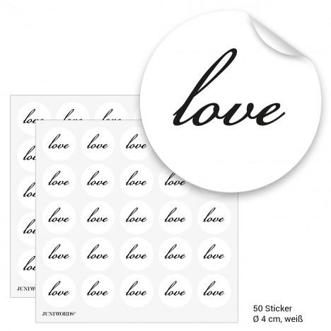 """Geschenktüten mit Aufklebern """"Love"""" - weiß"""