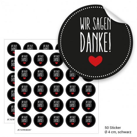"""Geschenktüten mit Aufklebern """"Wir sagen Danke!"""" - schwarz"""