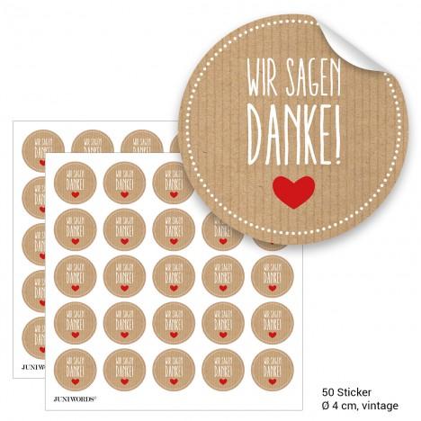 """Geschenktüten mit Aufklebern """"Wir sagen Danke!"""" - vintage"""