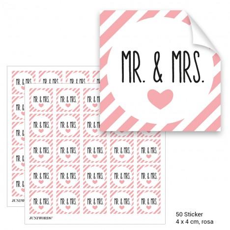 """Geschenktüten mit Aufklebern """"Mr. & Mrs."""" - rosa gestreift"""