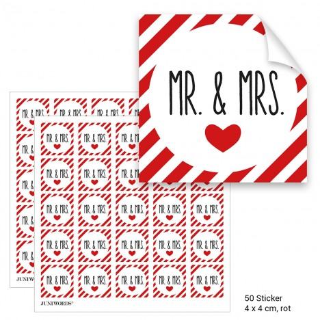 """Geschenktüten mit Aufklebern """"Mr. & Mrs."""" - rot gestreift"""