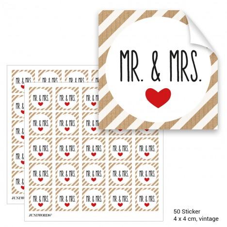 """Geschenktüten mit Aufklebern """"Mr. & Mrs."""" - vintage gestreift"""