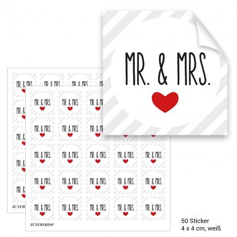 """Geschenktüten mit Aufklebern """"Mr. & Mrs."""" - weiß gestreift"""