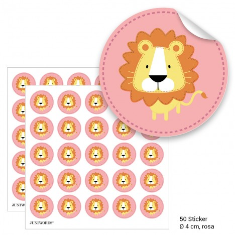 """Geschenktüten mit Aufklebern """"Löwe"""" - rosa"""