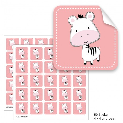 """Geschenktüten mit Aufklebern """"Zebra"""" - rosa"""