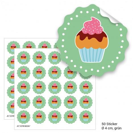 """Geschenktüten mit Aufklebern """"Cupcake"""" - grün"""