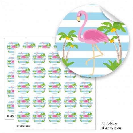 """Geschenktüten mit Aufklebern """"Flamingo"""" - blau"""