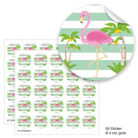 """Geschenktüten mit Aufklebern """"Flamingo"""" - grün"""
