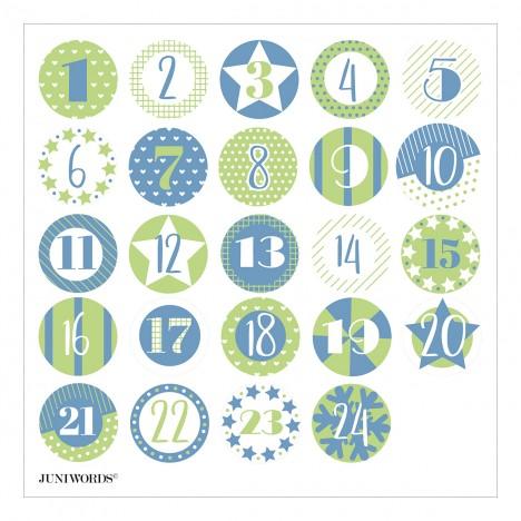 """Adventskalendertüten mit Aufklebern """"Zahlen und Muster blau/grün"""""""
