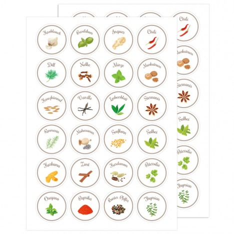 Gewürz - Etiketten Kreise, 48 Stück