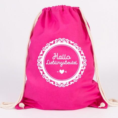 juniwords hallo lieblingsbeutel pink