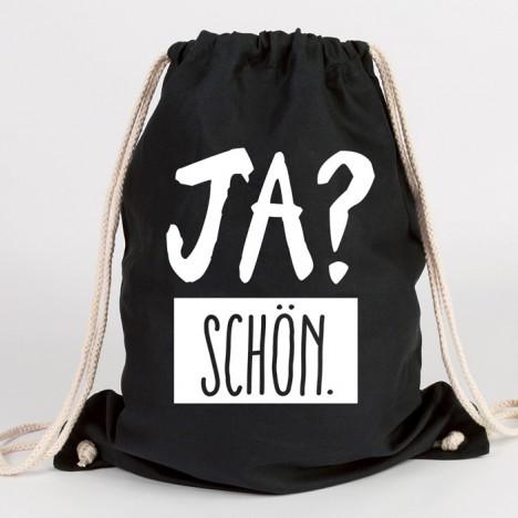 juniwords turnbeutel ja? schön. schwarz