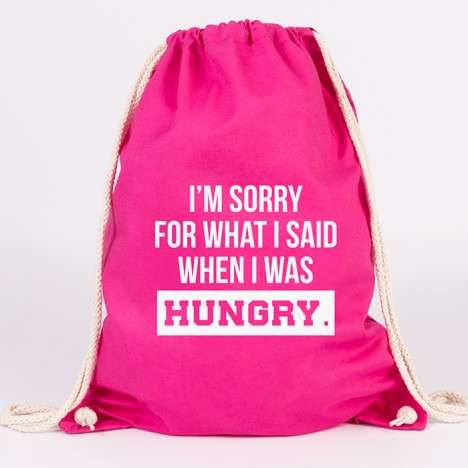 JUNIWORDS Turnbeutel I'm sorry for what I said when I was hungry.