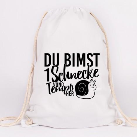 JUNIWORDS Turnbeutel Du bimst 1 Schnecke vong Tempo her