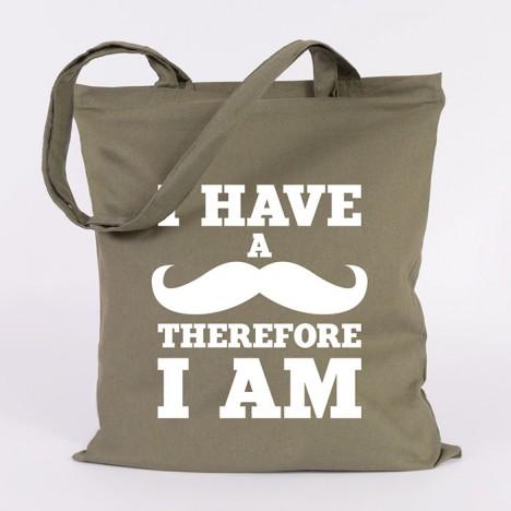 JUNIWORDS Jutebeutel I have a moustache therefore I am. Khaki