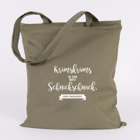 JUNIWORDS Jutebeutel Krimskrams is the new Schnickschnack. Khaki