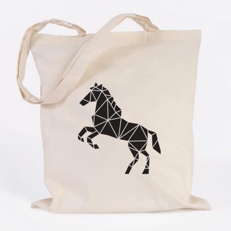 jutebeutel pferd origami