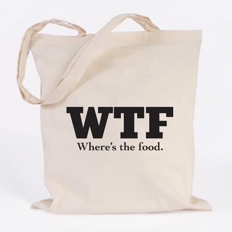 JUNIWORDS Jutebeutel WTF - Where's the food.
