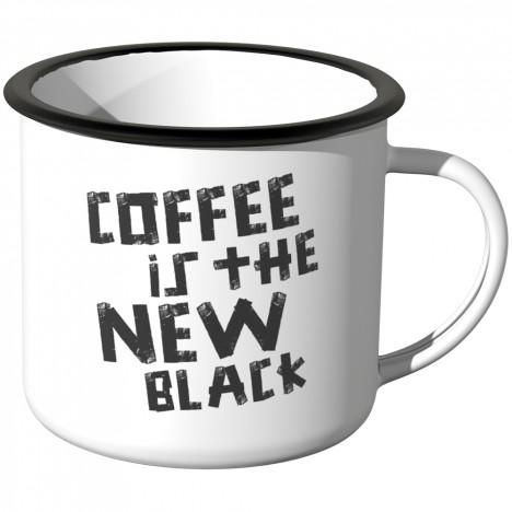 JUNIWORDS Emaille Tasse Coffee is the new black