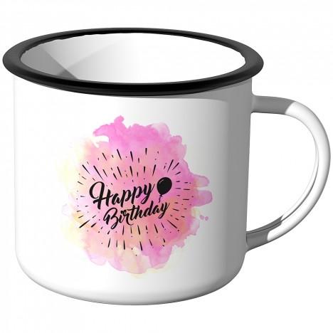 Emaille Tasse Happy Birthday - Aquarell