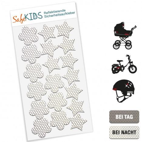 Reflektierende Sicherheitsaufkleber - SafeKIDS Sterne und Blumen