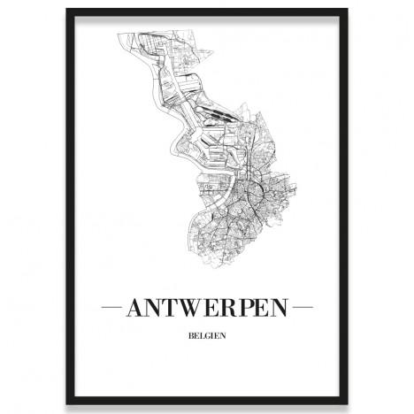 Poster Antwerpen mit Bilderrahmen