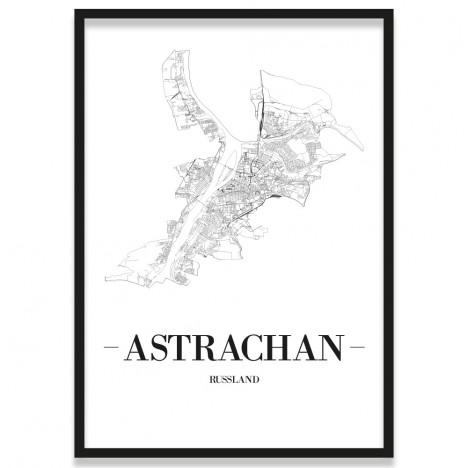 Stadtposter Straßennetz Astrachan mit Bilderrahmen