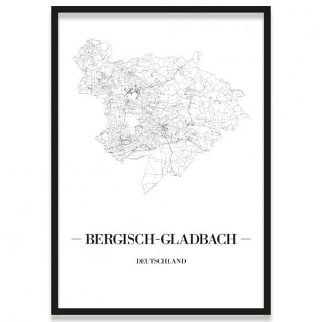 Poster Bergisch Gladbach Stadtplan mit Rahmen