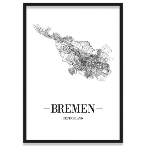 Poster Bremen Rahmen Straßennetz