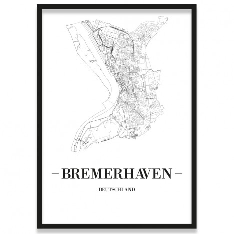 Poster Bremerhaven Stadtplan mit Bilderrahmen