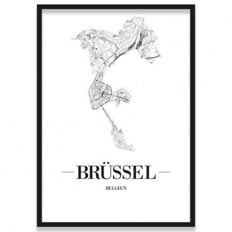 Poster Brüssel Straßennetz Rahmen