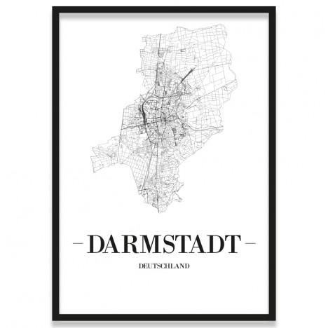 Stadtposter Darmstadt Straßenplan