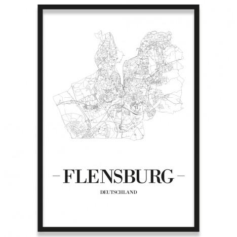 Poster Flensburg mit Stadtplan im Rahmen