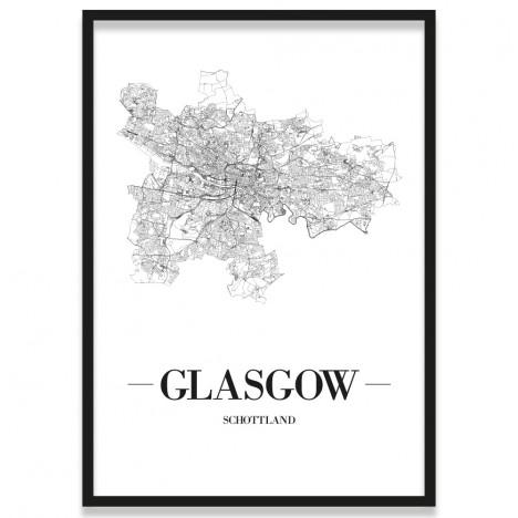 Poster Glasgow Straßennetz mit Rahmen
