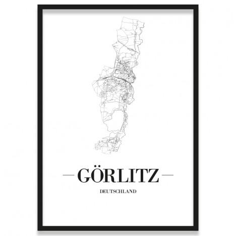 Poster Görlitz mit Straßenplan