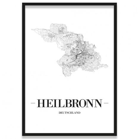 Poster Heilbronn Straßenplan Rahmen