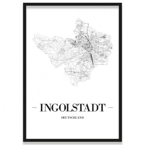 Poster Ingolstadt Straßennetz mit Rahmen