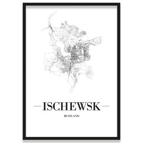 Poster Ischewsk Straßennetz mit Rahmen