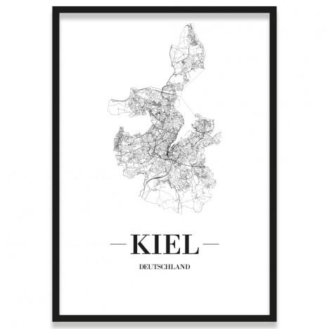 Poster Kiel mit Straßenplan im Rahmen