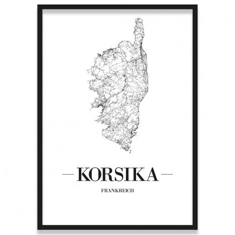 Poster Korsika Straßenplan mit Bilderrahmen