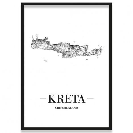Poster Kreta Stadtnetz