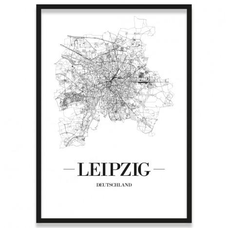 Poster Leipzig Rahmen Stadtplan