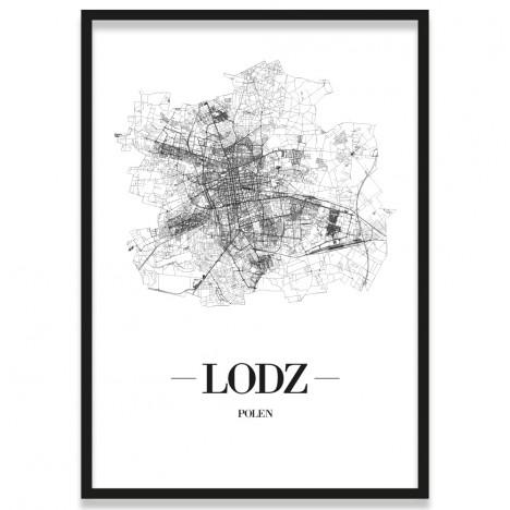 Poster Lodz mit Rahmen