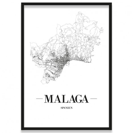 Poster Malaga mit Rahmen