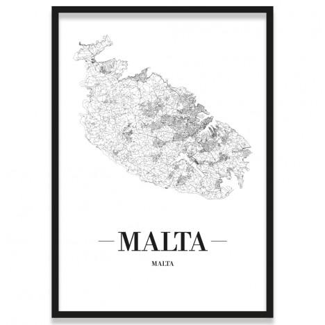 Poster Malta mit Stadtplan mit Bilderrahmen