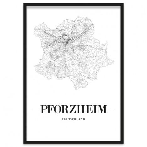 Straßennetz Poster mit Bilderrahmen