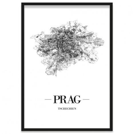 Stadtposter Prag Stadtplan Bilderrahmen