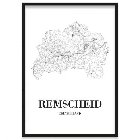 gerahmtes Stadtposter Remscheid