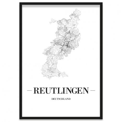 gerahmtes Poster Reutlingen Straßennetz