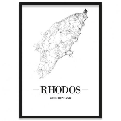 Stadtposter Rhodos gerahmt Straßennetz